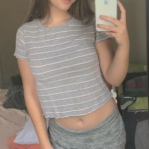 Gray white and red striped t shirt